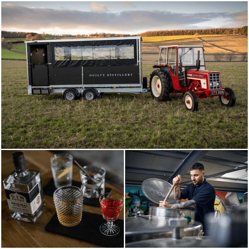 Ogilvy tractor and trailer in field. vodka distillery. gin bothy tasting